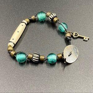 Beaded Leather Bracelet with Key